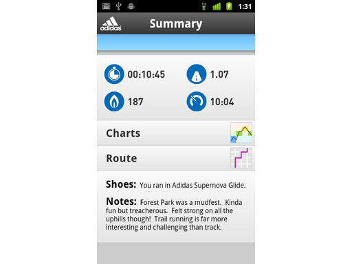 Image : The adidas miCoach app for Android - Summary