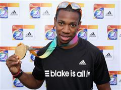 adidas athlete Yohan Blake wins gold for 100 meters at Daegu world championships 2011