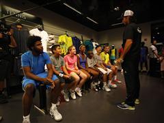 Fernando Verdasco, Ana Ivanovic, Gilles Simon and Jack Sock Surprise Kids at the adidas Sport Performance store in New York