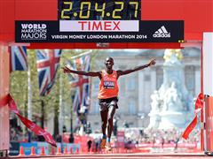 Wilson Kipsang wins the Virgin money London Marathon wearing adiZero adios boost