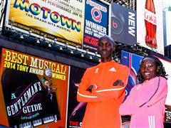 NYC Marathon Winners Kipsang + Keitany Break the Tape Wearing adidas adizero Adios Boost 2