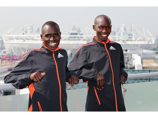 Image : Emmanuel Kipchirchir &, Wilson Kipsang at the adidas London 2012 Media Lounge