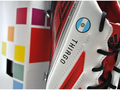 Close up of Leo Messi miadidas boots