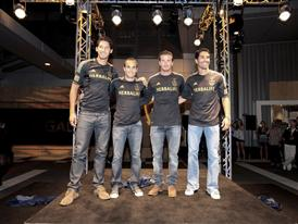 Omar Gonzalez, Landon Donovan, David Beckham and Juan Pablo Angel model the new adidas LA Galaxy uniform