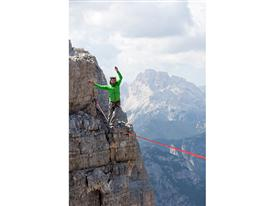 Armin Holzer walking the line on the 'Cima Ouest' (western battlement)