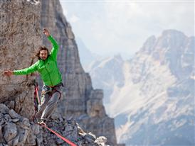 "Die ""Perle des Westens"" is a 37-meter/121ft long highline located close to the summit of the 'Cima Ovest'"