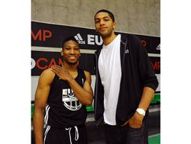 Nicolas Batum (R) and Andrew Albicy - adidas Eurocamp 2012 - Day 3