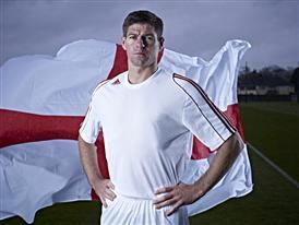 Steven Gerrard with the England flag