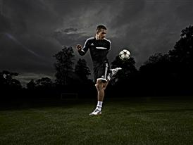 Lukas Podolski shows his skills in his new personalised miadidas f50 football boots