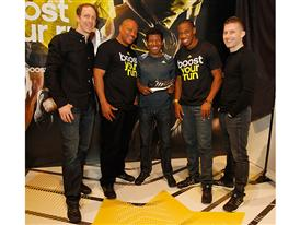 Left to Right - Eric Liedtke, Maurice Greene, Haile Gebrselassie, Yohan Blake and James Carnes