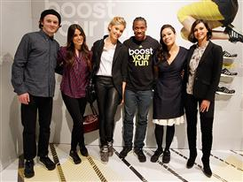 Left to Right: Anton Yelchin, Nikki Reed, Maggie Grace, Yohan Blake, Rosario Dawson, Morena Baccarin