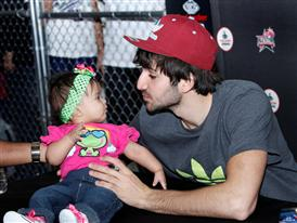 Ricky Rubio of Minnesota Timberwolves at Foot Locker during NBA All-Star