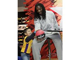 Kenneth Faried of Denver Nuggets at adidas Store during  NBA All-Star
