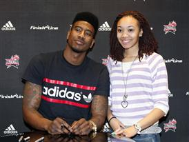 Iman Shumpert of New York Knicks at Finish Line during NBA All-Star 1