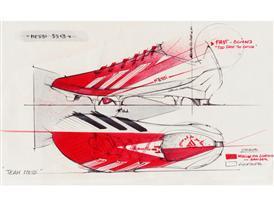 Design sketches of the new adizero f50 Messi boots