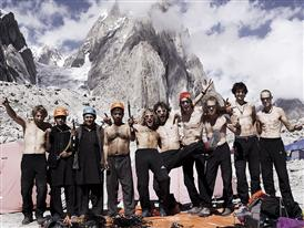 Jakob, Guido, Hechei, Simon, Hannes, Flo, Max at base camp, Karakorum, Pakistan