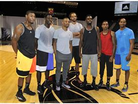 adidas Basketball Boost Launch (from left) Marcus Smart, Jrue Holiday, Damian Lillard, Joakim Noah, Tim Hardaway Jr, Jef