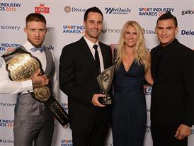 Presented by EFC fighters Leon Mynhardt and Don Madge, Kate Woods and Rob Lee win Best Sponsorship of a Sport Event or C