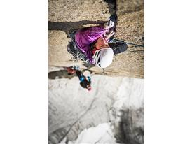 Mayan Smith-Gobat climbing pitch 23 in the route Riders on the Storm, Torres del Paine-photo credits Thomas Senf/adidas