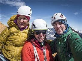 Thomas Senf, Ines Papert and Mayan Smith-Gobat on top of Torre Central after their climb of the route Riders on the Stor