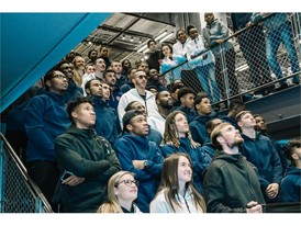 New York City area High School students alongside Becky Sauerbrunn, Sacha Kljestan, David Villa, Carlos Correa