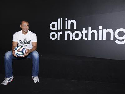 World Cup winner Cafu is joined by Yohan Blake and Warren Weir at the adidas Dugout
