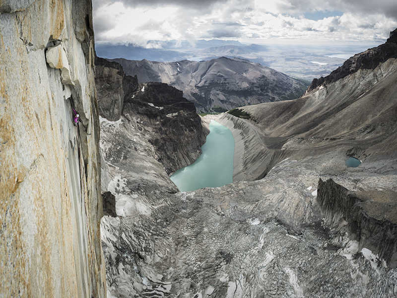 Mayan Smith-Gobat climbing pitch 16 in the route Riders on the Storm, Torres del Paine-photo credits Thomas Senf/adidas