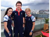 Victoria Pendleton, Laura Trott and Geraint Thomas visit adidas London 2012 Media Lounge to unveil the ADIPOWER muscle warming 'hot pants'