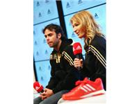 Tennis Legend Steffi Graf and Olympic medallist Fernando Gonzalez visit the adidas London 2012 Media Lounge.