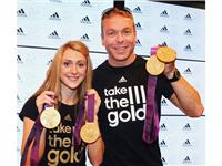 Two time London 2012 Gold medal winners Sir Chris Hoy and Laura Trott visit the adidas London 2012 Media Lounge