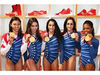 Gold winning Women&#39;s Gymnastics team visits the adidas London 2012 Media Lounge