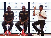 Emmanuel Kipchirchir, Wilson Kipsang and Haile Gebrselassie join adidas at the London 2012 Media Lounge.
