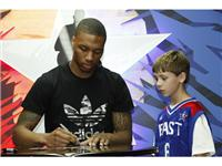 Damian Lillard of Portland Trail Blazers at adidas Store during NBA All-Star