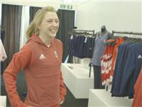 Laura Trot goes to adidas kitting out for London Olympics 2012 in Loughborough  B Roll GVs