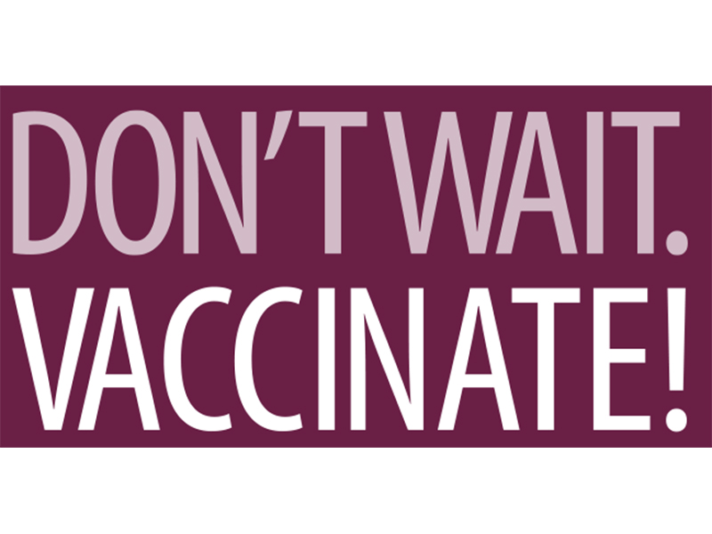"""Don't Wait. Vaccinate"" Logo"