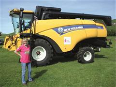 Judi finishes 174-mile journey on New Holland combine for cancer charity