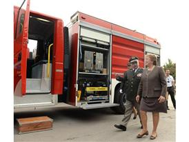 Miguel Reyes Head of Chile's National Command of Firebrigades explains details of Magirus vehicles to President Bachelet