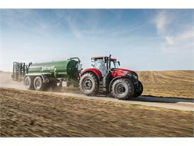 Case IH Optum 300 CVX with slurry tank on the road