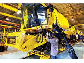Production of a New Holland Agriculture combine harvester at CNH Industrial's Curitiba plant in Brazil