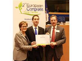 Sean Coughlan is pictured (centre) with Irish Project MEP Mairead McGuinness and Matthew Foster, Vice President of Case