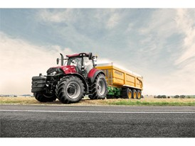 The Case IH Optum 270 CVX tractor with trailer