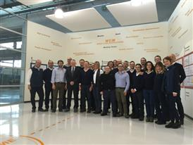 Employees from the CNH Industrial San Mauro, Italy plant pose for a photo to celebrate their WCM Bronze Medal