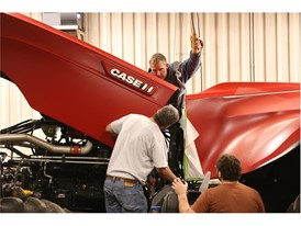 Fixing the hood section into place for the Case IH Magnum Autonomous Concept Tractor