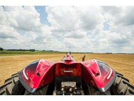 Case IH Magnum Autonomous Concept Tractor in the field. Rear fenders and machine top