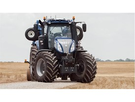 New Holland T8 NHDrive Autonomous Concept Tractor with the New Holland 2085 Air Disc Drill in transport