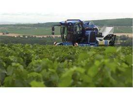 The VN2080 Grape Harvester from New Holland Agriculture at work in Chablis vineyard