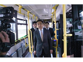Mr. Bakhytzhan Sagintayev, Prime Minister of the Republic of Kazakhstan, in one of the IVECO BUS vehicles