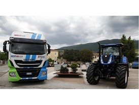 IVECO Stralis Natural Power and a New Holland T7 tractor in Trevi