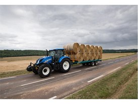 New Holland T6.175 Dynamic Command conducting road transport with a bale trailer