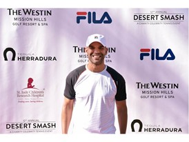 Amaury Nolasco Wears FILA at 12th Annual Desert Smash Charity Celebrity Tennis Event